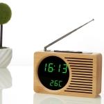 Horizontal Strip Bamboo Mirror Green Light Multifunctional Retro Radio Wooden Alarm Clock Mute Electronic Clock