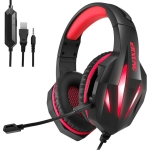 ERXUNG J5 Head-Mounted Gaming Headset Wire-Controlled Desktop Computer Gaming With Microphone  Luminous Headset(Black Red )