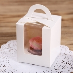 50 Pieces Muffin Cup Cake Box Portable Window Cake Packaging Box(White)