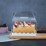 50 Pieces Portable Long Cake Roll Transparent Box Pastry Baking Packaging Box, Specification: Half Roll (16x9x9cm)