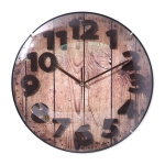 Simple Retro Imitation Wood Grain Three-dimensional Digital Round Wall Clock