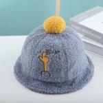 Children Hat Autumn and Winter Lamb Velvet Basin Hat Warm Hair Ball Fisherman Hat, Size: Cap Circumference About 50cm( Blue)
