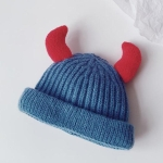 Children Knitted Hat Winter Warm Cartoon Ox Horns Woolen Hat, Size: Children 2-6 Years Old(Denim Blue)