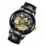 FNGEEN 6018 Men Automatic Mechanical Watch Waterproof Luminous Diamond Double-Sided Hollow Watch(Black Leather Black Shell Black Surface)