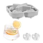 Silicone Ice Tray Ice Ball Mold Pumpkin Round Ice Box Whiskey Beverage Ice Cube Mold(Light Gray)