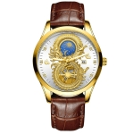 FNGEEN S999 Men Non-Mechanical Watch Calendar Dragon And Phoenix Pattern Couple Watch(Brown Leather Full Gold White Surface)