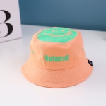 C0338 Smiley Children Fisherman Hat Spring Print Flat Top Basin Hat Sun Hat, Size: Around 50cm(Orange)