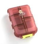 Mizi Small Pill Box Portable Dispensing Medicines Boxes, Colour: 10 Grid (Brown)