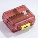 Mizi Small Pill Box Portable Dispensing Medicines Boxes, Colour: 7 Grid (Brown)