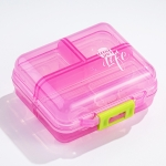 Mizi Small Pill Box Portable Dispensing Medicines Boxes, Colour: 7 Grid (Pink)