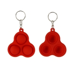 4 PCS Press Bubble Fun Mini Pressure Relief Fingertip Toy Silicone Finger Practice Keychain,Style: Triangle (Red)