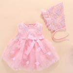 Baby Sleeveless Mesh Dress (Color:Pink Size:3M)