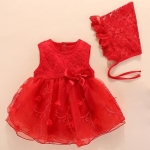 Baby Sleeveless Mesh Dress (Color:Red Size:9M)