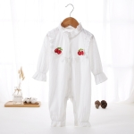 Solid Color Baby Girl Long-sleeved Bodysuit (Color:White Size:80)