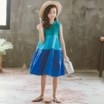 Girls Skirt Contrast Stitching Lace Neckline Sleeveless Contrast Stitching Dress (Color:Blue Size:160)