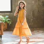 Girls Sleeveless Stitching Dress (Color:Yellow Size:120)