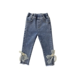 Girls Fashion Bow Slim Jeans (Color:Blue Size:100)