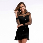 Lace Stitching Casual Slim Waisted Fishtail Dress (Color:Black Size:M)