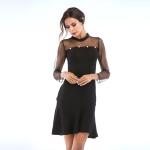 Lace Stitching Slim Waist Beaded Ruffle Skirt (Color:Black Size:M)