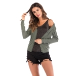 Pure Color Knitted Cardigan Slim Slimming V-neck Versatile Jacket (Color:Army Green Size:M)