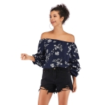 Slim-fit Cropped Top With Printed Chiffon Shirt (Color:Blue Size:M)