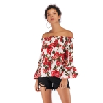 Sexy Off-shoulder Printed Chiffon Shirt (Color:Red Size:M)