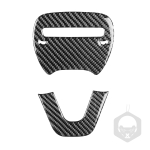 2 PCS / Set Carbon Fiber Car Steering Wheel Logo + Chin Decorative Sticker for Dodge Challenger 2015 to Now, Left Driving