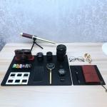 26 in 1 Non-Working Fake Dummy Camera Model for Leica + 3 x Camera Lens Models + Phone Model + Film Shell Models + Copper Compass + Metal Telescope + Metal Magnifier + Notebook + Glasses + Mat Desk Photo Studio Props