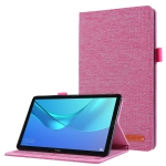 For Huawei M5 8.0 Horizontal Flip TPU + Fabric PU Leather Protective Case with Name Card Clip(Rose Red)