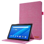 For Lenovo Tab M10 Horizontal Flip TPU + Fabric PU Leather Protective Case with Name Card Clip(Rose Red)