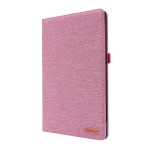 For Lenovo Tab P11 Horizontal Flip TPU + Fabric PU Leather Protective Case with Name Card Clip(Rose Red)
