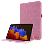 For Samsung Galaxy Tab S7+ / T970 Horizontal Flip TPU + Fabric PU Leather Protective Case with Name Card Clip(Rose Red)