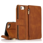 Skin-feel Crazy Horse Texture Zipper Wallet Bag Horizontal Flip Leather Case with Holder & Card Slots & Wallet & Lanyard For iPhone 6(Brown)