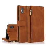 Skin-feel Crazy Horse Texture Zipper Wallet Bag Horizontal Flip Leather Case with Holder & Card Slots & Wallet & Lanyard For iPhone XS / X(Brown)
