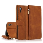 Skin-feel Crazy Horse Texture Zipper Wallet Bag Horizontal Flip Leather Case with Holder & Card Slots & Wallet & Lanyard For iPhone XR(Brown)