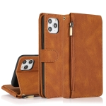 Skin-feel Crazy Horse Texture Zipper Wallet Bag Horizontal Flip Leather Case with Holder & Card Slots & Wallet & Lanyard For iPhone 11 Pro Max(Brown)