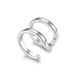 S925 Sterling Silver Silver Double-ring Ear Clip Women Earrings