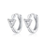 S925 Sterling Silver Silver Triangle Ear Buckle Women Earrings