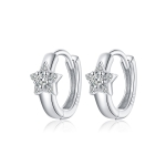S925 Sterling Silver Silver Shining Stars Ear Buckle Women Earrings