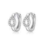 S925 Sterling Silver Silver Shining Water Droplets Ear Buckle Women Earrings