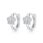 S925 Sterling Silver Silver Bright Butterfly Ear Buckle Women Earrings