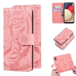 For Samsung Galaxy A02s EU Version Tiger Embossing Pattern Horizontal Flip Leather Case with Holder & Card Slots & Wallet(Pink)