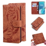 For OnePlus 9 Pro Tiger Embossing Pattern Horizontal Flip Leather Case with Holder & Card Slots & Wallet(Brown)