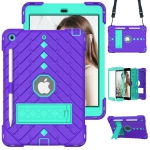 Shockproof Rhombus Robot PC + Silicone Protective Case with Holder & Shoulder Strap For iPad 10.2 (2020) / (2019)(Purple+Mint Green)
