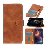 For Xiaomi Redmi Note 10 4G / Note 10S KHAZNEH Retro Texture PU + TPU Horizontal Flip Leather Case with Holder & Card Slots & Wallet(Brown)
