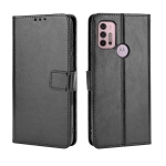 For Motorola Moto G30 Retro Crazy Horse Texture Horizontal Flip Leather Case with Holder & Card Slots & Lanyard(Black)