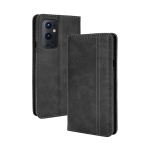 For OnePlus 9 Pro Magnetic Buckle Retro Crazy Horse Texture Horizontal Flip Leather Case with Holder & Card Slots & Photo Frame(Black)