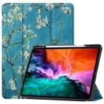 Colored Drawing Horizontal Flip TPU + PU Leather Case with Three-folding Holder & Sleep / Wake-up Function & Pen Slot For iPad Pro 12.9 (2021)(Apricot Flower)
