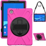 For Lenovo Tab M10 HD 2nd Gen TB-X306X Shockproof Colorful Silicone + PC Protective Case with Holder & Hand Grip Strap & Shoulder Strap(Rose Red)