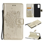 For OPPO Reno5 Pro 5G Tree & Cat Pattern Pressed Printing Horizontal Flip PU Leather Case with Holder & Card Slots & Wallet & Lanyard(Gold)
